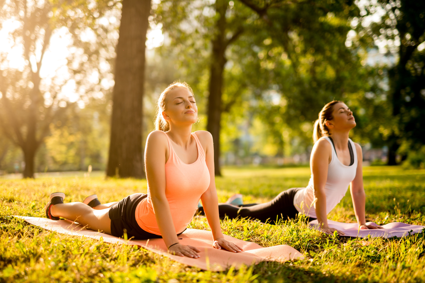 Women doing yoga outdoors in the park.